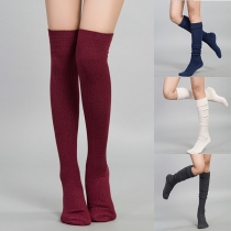 Fashion Solid Color Knit Over-the-knee Socks