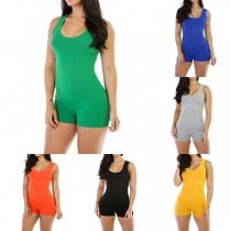 Fashion Solid Color Sleeveless Round Neck Slim Fit Romper