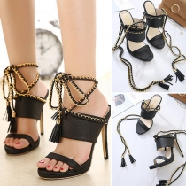 Sexy Chain Lace-up Open-toe High-heeled Sandals