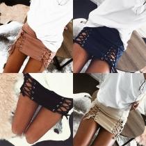 Fashion High Waist Lace-up Hem Solid Color Skirt