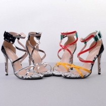 Fashion Contrast Color High Heel Open Toe Crossover Sandals