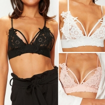 Sexy Solid Color Hollow Out Lace Bra