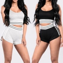 Sexy Backless Contrast Color Cami Top + High Waist Shorts Sports Suit