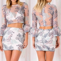 Sexy See-through Gauze Spliced Crop Top + High Waist Skirt Two-piece Set