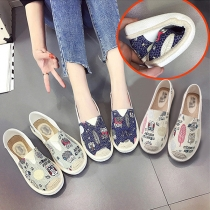Cute style Graffiti Pattern Flat Heel Round Toe Loafers Canvas Shoes