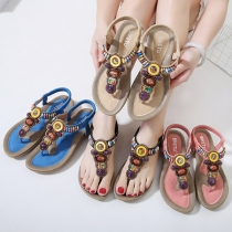 Bohemian Style Flat Heel Gem Inlaid Beaded Thong Sandals