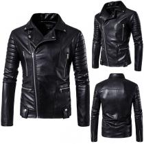 Punk Style Long Sleeve Slim Fit Men's PU Leather Jacket