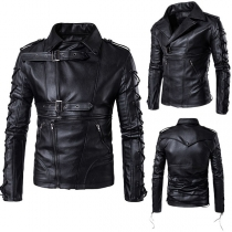 Fashion Solid Color Lace-up Long Sleeve Men's PU Leather Jacket