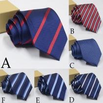 Fashion Contrast Color Striped Tie for Men