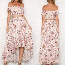 Sexy off-shoulder Boat Neck Crop Top + High-low Hem Skirt Printed Two-piece Set