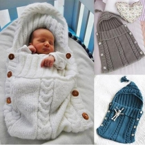 Cute Style Solid Color Hooded Knit Sleeping Bag for Babies
