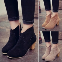 Fashion Round Toe Thick Heel Ankle Boots Booties