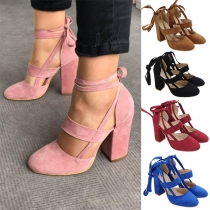 Retro Style Hollow Out Ankle-wrap Chunky Heel