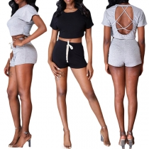 Sexy Backless Short Sleeve Round Neck Crop Top + Shorts Two-piece Set