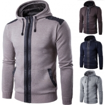 Casual Style Long Sleeve Hooded Solid Color Men's Knit Coat