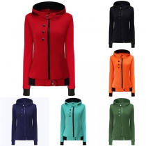 Fashion Solid Color Long Sleeve High Neck Coat