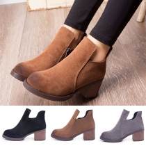 Retro Style Round Toe Thick Heel Ankle Boots Booties