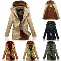 Fashion Solid Color Long Sleeve Hooded Plush Lining Men's Padded Coat