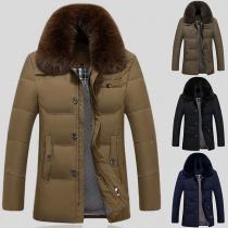 Fashion Solid Color Detachable Faux Fur Collar Long Sleeve Men's Down Coat