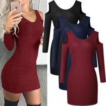 Sexy Off-shoulder Long Sleeve Round Neck Solid Color Tight Knit Dress