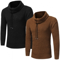 Fashion Solid Color Long Sleeve Turtleneck Men's Sweater