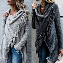 Fashion Solid Color Long Sleeve Irregular Hem Tassel Shawl Sweater