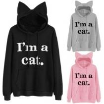 Cute Style Letters Printed Long Sleeve Cat-ear Shaped Hooded Sweatshirt