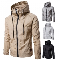 Simple Style Solid Color Long Sleeve Hooded Men's Jacket