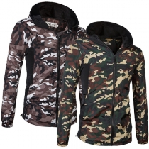 Fashion Camouflage Printed Long Sleeve Hooded Men's Sweatshirt Coat