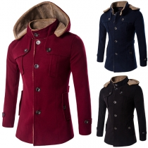 Fashion Solid Color Long Sleeve Hooded Single-breasted Men's Coat