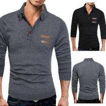 Fashion Solid Color Long Sleeve POLO Collar Men's Top