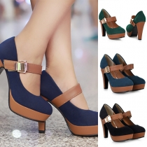 Fashion Contrast Color Thick High-heeled Round Toe Shoes