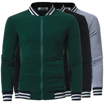 Fashion Contrast Color Long Sleeve Stand Collar Men's Baseball Jacket