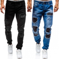 Fashion Mid-waist Ripped Relaxed-fit Men's Jeans