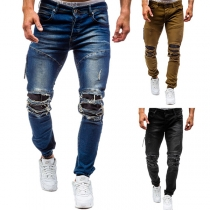 Fashion Mid-waist Ripped Men's Jeans