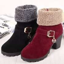 Fashion Thick Heel Round Toe Plush Lining Boots Booties