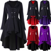 Fashion Solid Color Long Sleeve High-low Hem Lace-up Hooded Coat