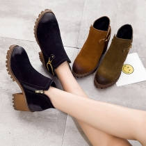Retro Style Round Toe Thick Heel Side Zipper Ankle Boots Booties