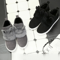 Fashion Faux Fur Spliced Rabbit Ear Round Toe Flat Heel Casual Shoes
