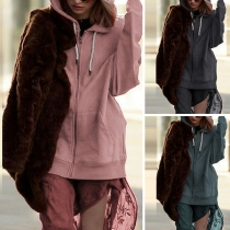 Fashion Solid Color Long Sleeve Hooded Loose Sweatshirt Coat