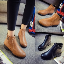 Fashion Solid Color Round Toe Flat Heel Ankle Boots Booties
