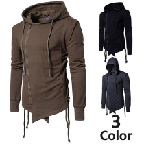 Fashion Solid Color Long Sleeve Irregular Hem Side-zipper Men's Hoodie