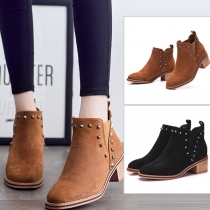 Retro Style Square Heel Round Toe Rivets Ankle Boots Booties