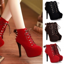 Fashion High-heeled Round Toe Platform Lace-up Ankle Boots Booties