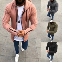 Casual Style Long Sleeve Solid Color Hooded Men's Thin Sweatshirt Coat