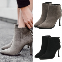 Fashion Pointed Toe High-heeled Back-zipper Ankle Boots Booties