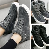 Fashion Flat Heel Round Toe Plush Lining Lace-up Shoes