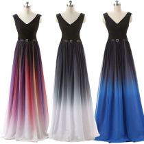 Sexy Backless V-neck Sleeveless High Waist Color Gradient Party Dress