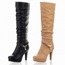 Fashion Round Toe High-heeled Detachable Knee-height Boots