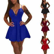 Sexy Backless Deep V-neck High Waist Solid Color Sling Dress